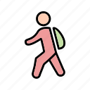 back to school, school, student, walking to school icon