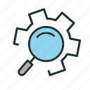 find, gear, search, setting icon