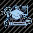 books, graduation, knowledge, learning icon