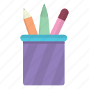 box, education, erase, eraser, pen, pencil, pencil box icon