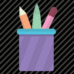 box, education, erase, eraser, pen, pencil, pencil box icon