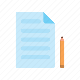 certificate, education, paper, pencil, write icon