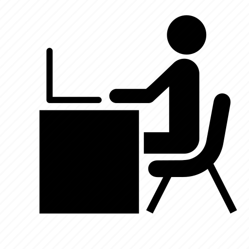 chair, education, laptop, man, table, work, worker icon