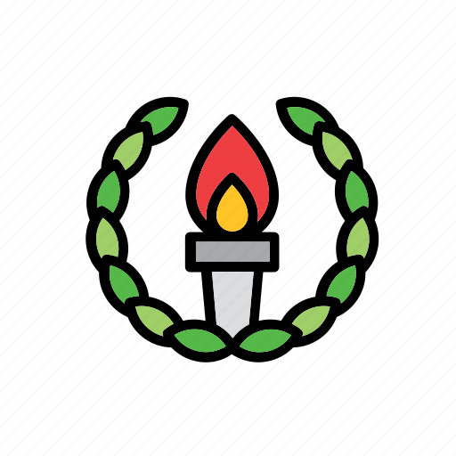 college, education, faculty, school, torch, university, wreath icon
