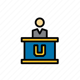 college, education, faculty, lectern, man, person, university icon