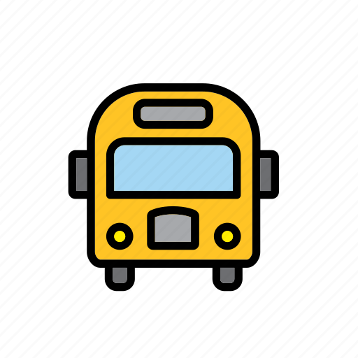 bus, education, school, transport, yellow icon