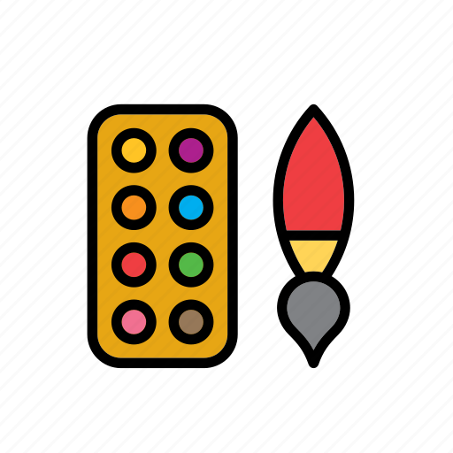 brush, color, paint, painting, palette, school, tool icon