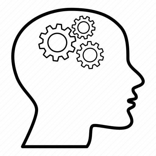 Head, person, thinking, creative, process, gears, education icon