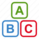 abc sign, baby, education, educative, school, toy, toys icon