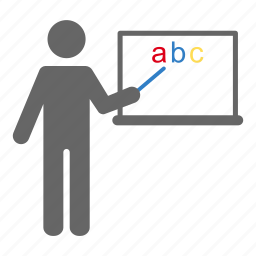 abc, class, language, person, pointing, study, teaching icon