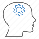 brain gear, creative, gears, head, idea, intelligence, person icon
