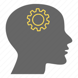 brain gear, creative, gears, head, intelligence, person, thinking icon