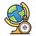 compass, education, globe, guide, map, science icon