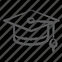 academic cap, graduation hat, headgear, headpiece, headwear, mortarboard icon