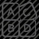 abc blocks, alphabet blocks, education, english, kindergarten, learning icon