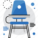 chair, classroom, desk, school, student, studying, table icon