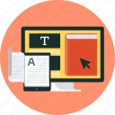 book, e-book, education, learn, online, teach, tutorial icon