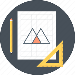 draw, geometry, paper, ruler, wire frame icon