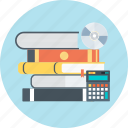 book, calculator, disc, learn, professional, tranining, tutorial icon