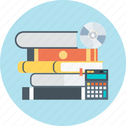 book, calculator, disc, learn, professional, tranining, tutorial icon