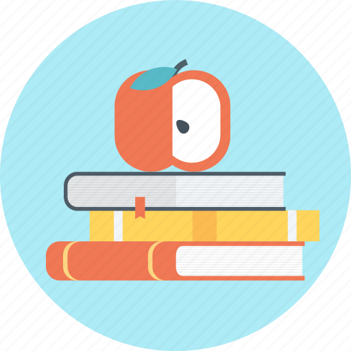 apple, back to school, book, books, pan, pen icon