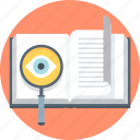 book, discover, discovery, learn, magnifier, search, teach icon