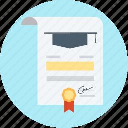 cap, diploma, graduation, school, sign, university icon