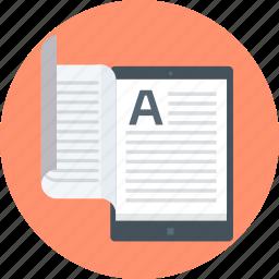 book, e-book, e-pub, electronic, read, tablet, tutorial icon