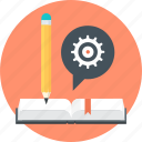 book, discover, gear, learn, pen, speech bubble, teach icon