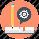 gear, discover, speech bubble, pen, book, learn, teach
