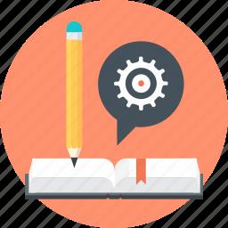 book, discover, gear, learn, pen, speech bubble, teach icon