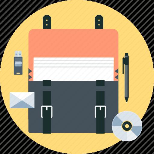 disc, documents, memory disc, pen, portfolio, professional, suitcase icon