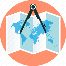 book, discover, earth, map, precision icon