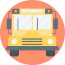 bus, go to school, school bus icon