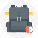 apple, backpack, learn, ruler, school, school bag icon
