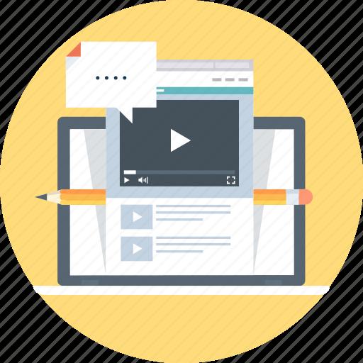 computer, internet, online, tutorial, video, watch icon