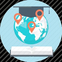 book, cap, distance education, earth, globe, graduation, international icon