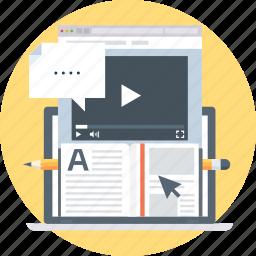 book, computer, internet, pen, speech bubble, tutorial, video icon