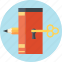 book, discover, knowledge, learn, unlock icon