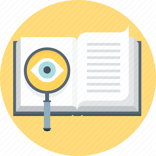book, discover, eye, faq, find, magnifier, search icon