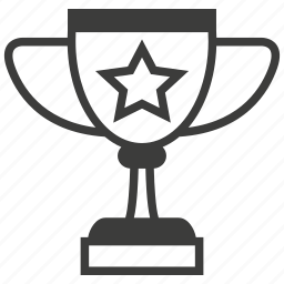 achievement, award, badge, cup, medal, prize, star icon