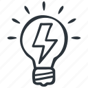 creative, creativity, energy, idea, innovation, light bulb icon