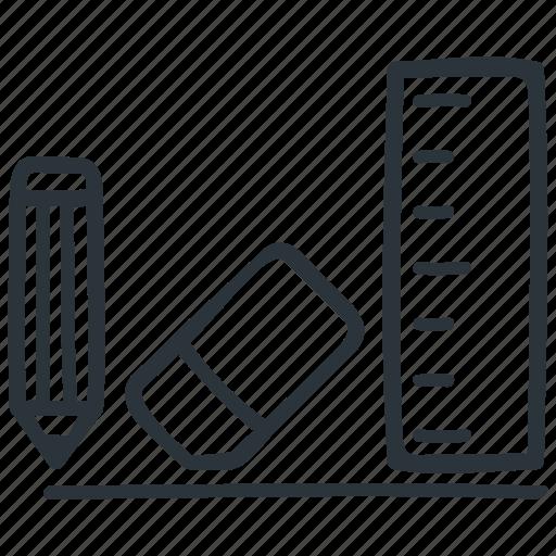 design, draw, eraser, pencil, ruler, stationary, stationery icon
