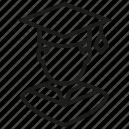 avatar, boy, graduation, male, man, school, user icon