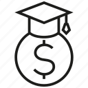 cash, education, finance, money, scholarship, student, warranty icon