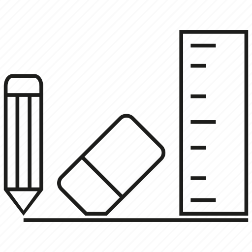 design, draw, edit, eraser, pen, pencil, ruler icon