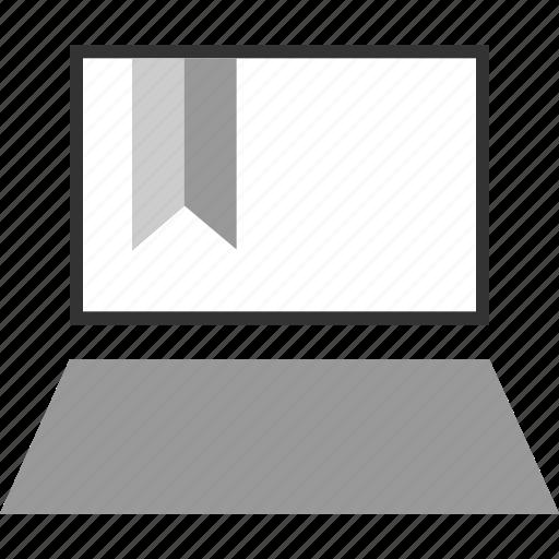 bookmark, e, laptop, learning icon