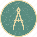 compass, education, stationery, trignometry icon