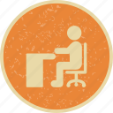 desk, office, sitting on desk, work icon