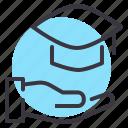 college, degree, graduate, graduation, hat, mortarboard, receive icon